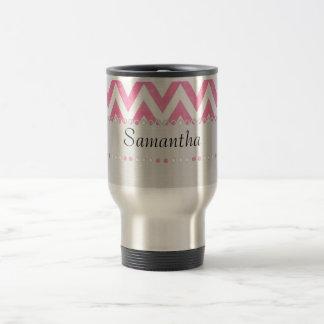 Trendy Pink ZigZag Monogram 15 Oz Stainless Steel Travel Mug