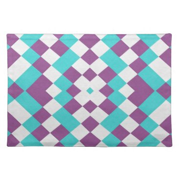 USA Themed Trendy Placemat Checkered aqua white purple