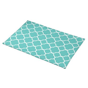 USA Themed Trendy Placemat Quaterfoil aqua white cool