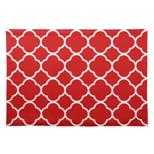 trendy placemat quaterfoil red white cool zazzle