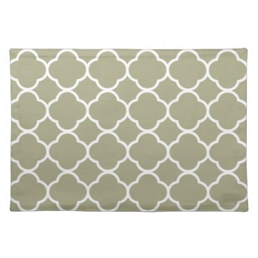 USA Themed Trendy Placemat Quaterfoil Taupe white cool
