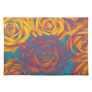 Trendy Placemat Yellow aqua pink roses