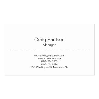 Trendy Plain Classical White Manager Business Card