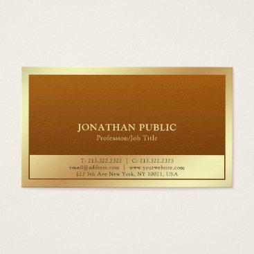 Lawyer Themed Trendy Plain Professional Modern Elegant Gold Business Card