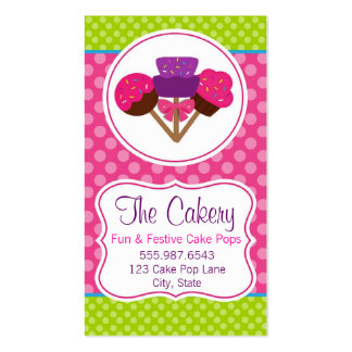 Trendy Polka Dot Cake Pop Cupcake Bakery Design Business Card Templates