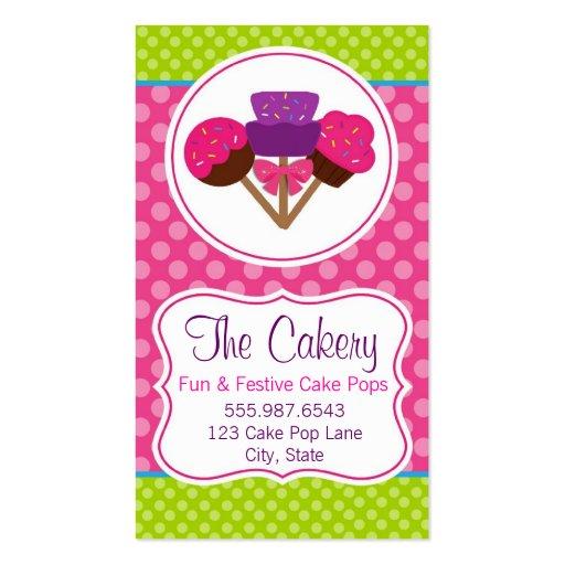 Trendy Polka Dot Cake Pop Cupcake Bakery Design Business Card Templates