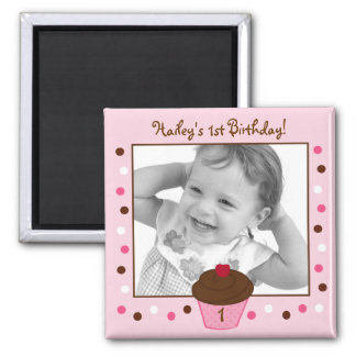 Trendy Polka Dot Cupcake Birthday Favor Magnets