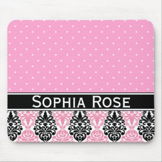 Trendy Polka Dot Damask Pattern with Name Mouse Pad