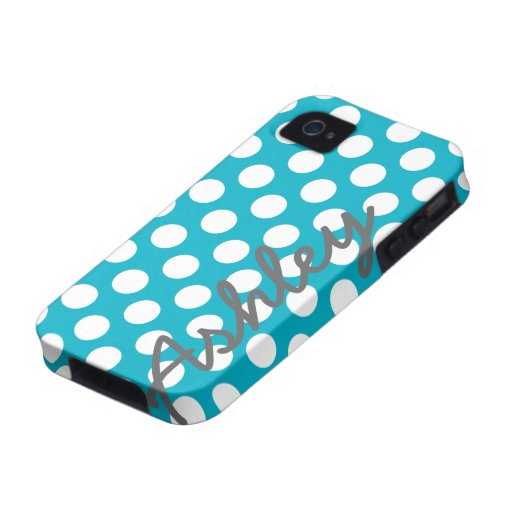 Trendy Polka Dot Pattern with name - blue gray Case-Mate iPhone 4 Cover