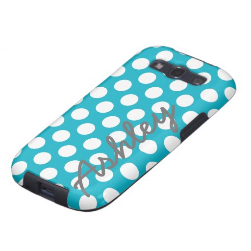Trendy Polka Dot Pattern with name - blue gray Samsung Galaxy S3 Covers