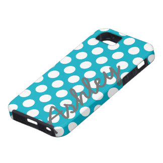 Trendy Polka Dot Pattern with name - blue gray iPhone SE/5/5s Case