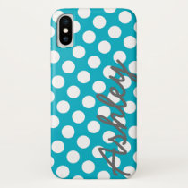 Trendy Polka Dot Pattern with name - blue gray iPhone X Case
