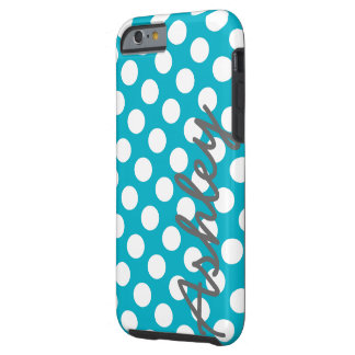 Trendy Polka Dot Pattern with name - blue gray Tough iPhone 6 Case