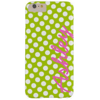 Trendy Polka Dot Pattern with name - green pink Barely There iPhone 6 Plus Case