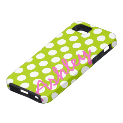 Trendy Polka Dot Pattern with name - green pink iPhone 5 Cases