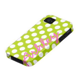 Trendy Polka Dot Pattern with name - green pink iPhone 4/4S Covers