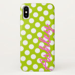 "Trendy Polka Dot Pattern with name - green pink iPhone XS Case<br><div class=""desc"">A bold,  graphic design with dots in fun colors.</div>"