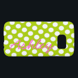 "Trendy Polka Dot Pattern with name - green pink Samsung Galaxy S7 Case<br><div class=""desc"">A bold,  graphic design with dots in fun colors. To change the phone style,  click on the customize area and choose from the list of available cases.</div>"