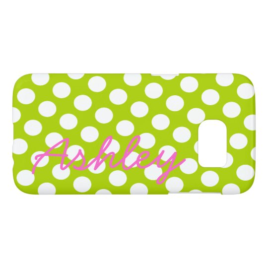 Trendy Polka Dot Pattern with name - green pink Samsung Galaxy S7 Case