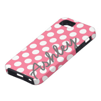 Trendy Polka Dot Pattern with name - pink gray iPhone SE/5/5s Case