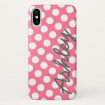 "Trendy Polka Dot Pattern with name - pink gray iPhone X Case<br><div class=""desc"">A bold,  graphic design with dots in fun colors. Add your name or delete the text for a fun Spring cover.</div>"