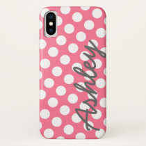 Trendy Polka Dot Pattern with name - pink gray iPhone X Case