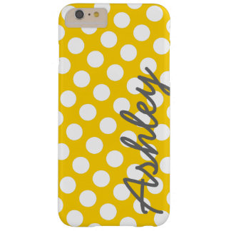 Trendy Polka Dot Pattern with name - yellow gray Barely There iPhone 6 Plus Case