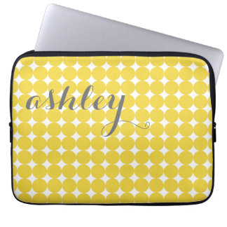 Trendy Polka Dot Pattern with name - yellow gray Computer Sleeve