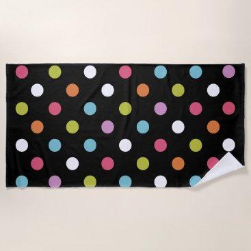 Beach Themed Trendy Polka Dots Pattern Beach Towel