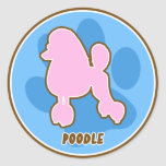 Trendy Poodle Classic Round Sticker