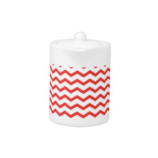 Trendy Poppy Red Chevron Pattern Teapot