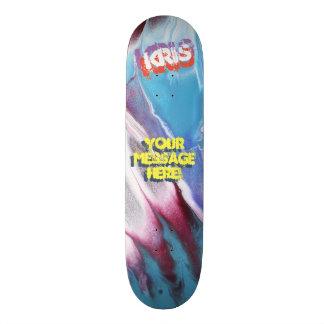 Trendy Poured Paint Blue White Magenta Skateboard