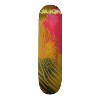 Trendy Poured Red Black Gold Paint Skateboard Deck