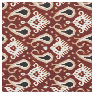 Trendy Pretty Taupe Red Brown Ikat Tribal Pattern Fabric