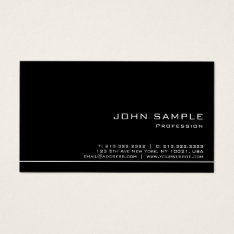 Trendy Professional Modern Black White Semi Gloss Business Card at Zazzle
