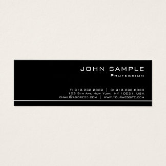 Trendy Professional Modern Black White Semi Gloss Mini Business Card