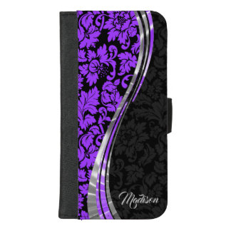 Trendy Purple And Black Damask iPhone 8/7 Plus Wallet Case