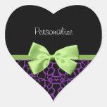 Trendy Purple And Black Giraffe With Green Ribbon Heart Sticker