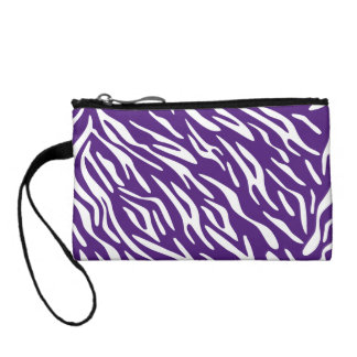Trendy Purple and White Zebra Stripe Coin Purse