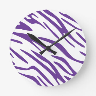 Trendy Purple and White Zebra Stripe Wall Clock