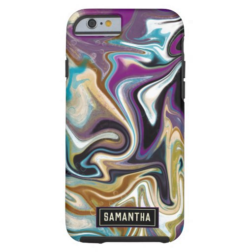 Trendy Purple black marbling design Tough iPhone 6 Case