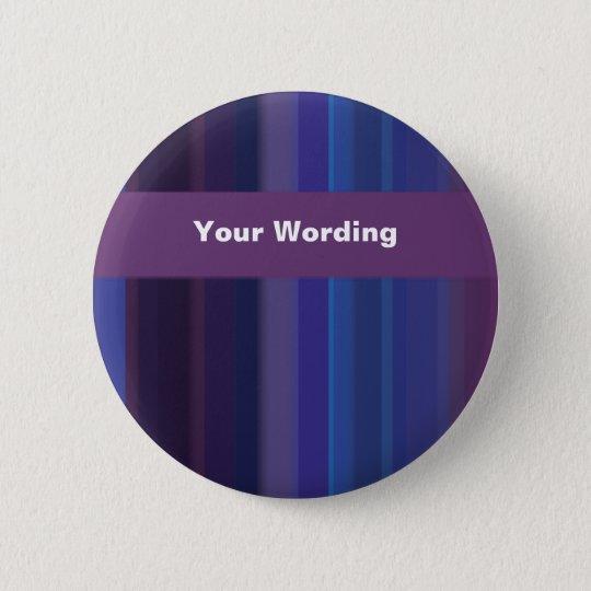 Trendy purple blue stripes - customizable button