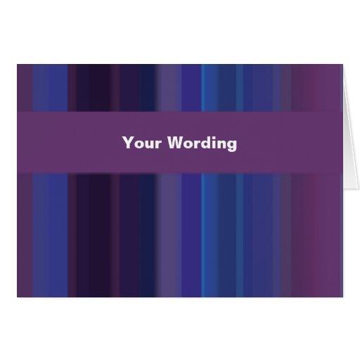 Trendy purple blue stripes - customizable cards
