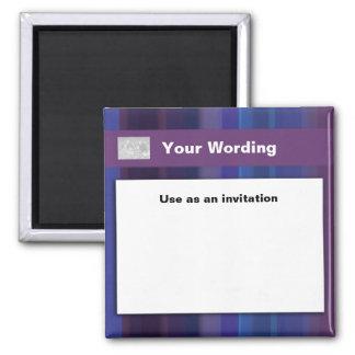 Trendy purple blue stripes - customizable 2 inch square magnet