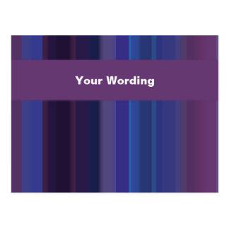 Trendy purple blue stripes - customizable postcard