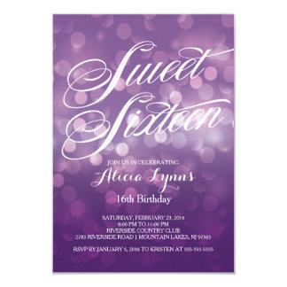 Trendy Purple Bokeh Lights Sweet Sixteen Party Card