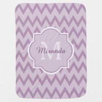 Trendy Purple Chevron Baby Name and Monogram Swaddle Blanket