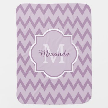 Toddler & Baby themed Trendy Purple Chevron Baby Name and Monogram Swaddle Blanket