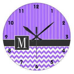 Trendy Purple Chevron Large Clock