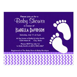 Trendy Purple Chevron Postcard